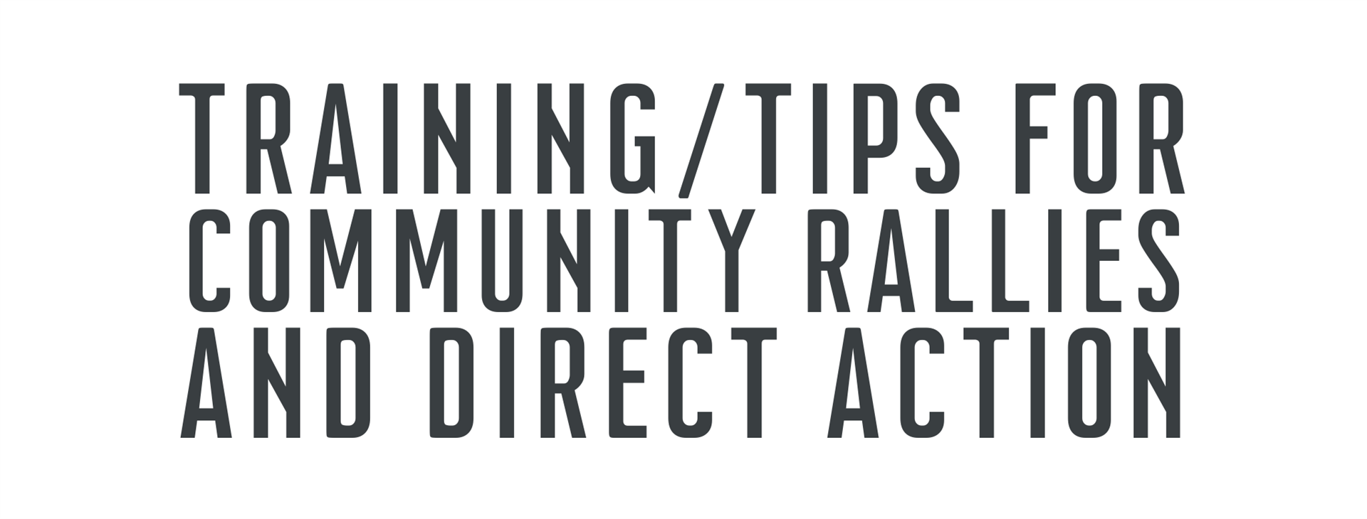 Training/Tips for Community Rallies and Direct Action